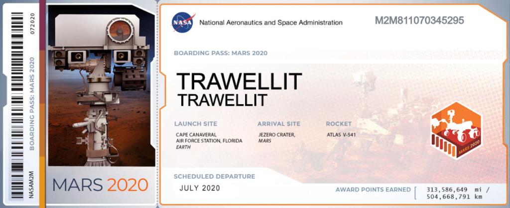 Trawellit è su Marte con il rover Perseverance